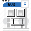 bus, city, location, point, public, stop, transport icon