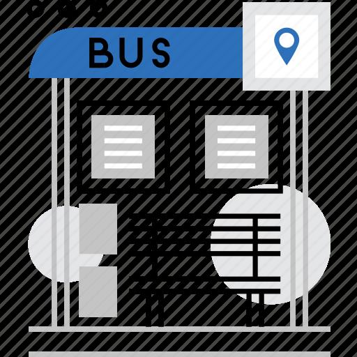 bus, city, location, point, public, stop, transport icon