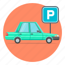 automobile, car, parking, sign icon