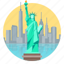 city, liberty, new, new york, skyline, statue of liberty, york