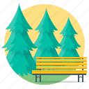 bench, fir-tree, nature, park, pine, trees icon