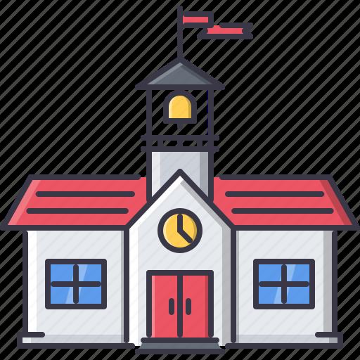 architecture, building, clock, flag, school, university icon