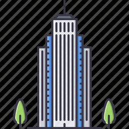 apartment, architecture, building, hotel, skyscraper, tree icon