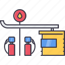 architecture, building, gas, gasoline, petrol, station icon