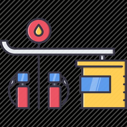 architecture, building, gas, gasoline, petrol, station icon