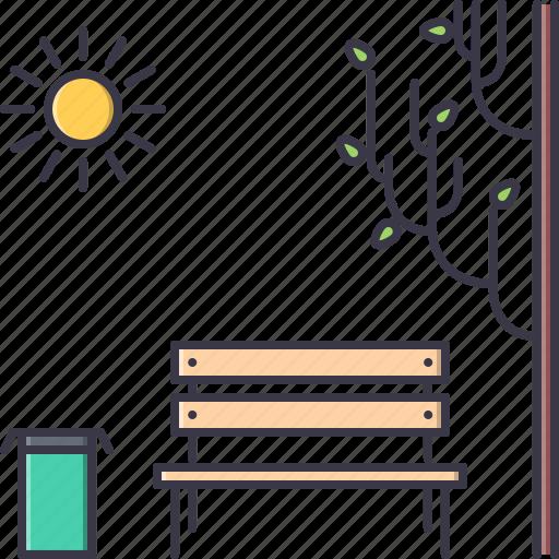 architecture, bench, bin, building, sun, trash, tree icon