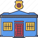 architecture, building, lattice, police, star, station, token icon