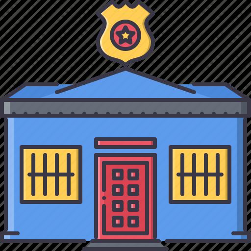 architecture, building, lattice, police, star, station, token icon