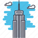 architecture, building, cloud, empire, sight, skyscraper, state icon