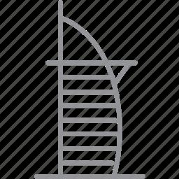 building, city, dubai, journey, line, vacation icon