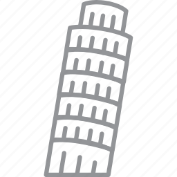 building, city, journey, line, pisa, vacation icon
