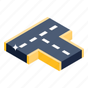 highway, intersection road, roadway, route, motorway icon