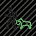 animal, dog, outdoors, park, pet, walk, walking icon