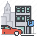 auto, build, car, city, parking icon