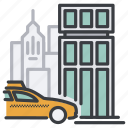 taxi, city, uber, office, auto, build, order