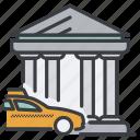 bank, building, car, city, taxi icon