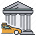 bank, building, car, city, taxi