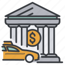 bank, building, car, city, money, taxi icon