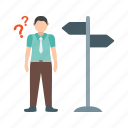choice, city, direction, lost, path, road, sign icon