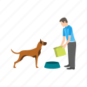 bird, care, dog, eating, feeding, person, pet icon