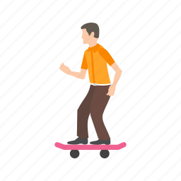 board, extreme, skate, skateboard, skating, young, youth icon