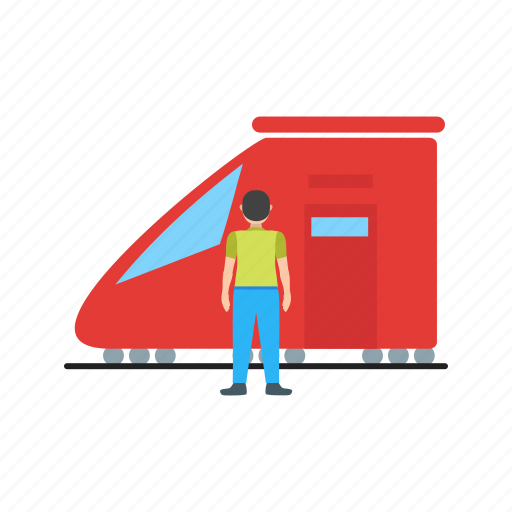 people, platform, railway, station, train, transport, travel icon