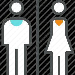 bathroom, female, male, restroom, toilet, washroom, wc icon