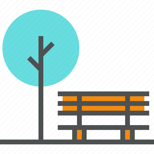 bench, city, forest, nature, outdoor, park, recreation, tree icon