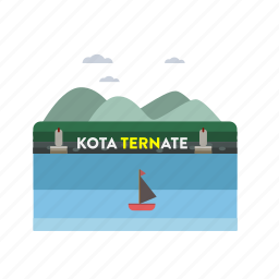 building, city, indonesian, monument, ternate, travel icon