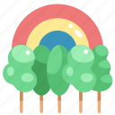 forest, jungle, nature, rainbow, trees, woodland, woods icon