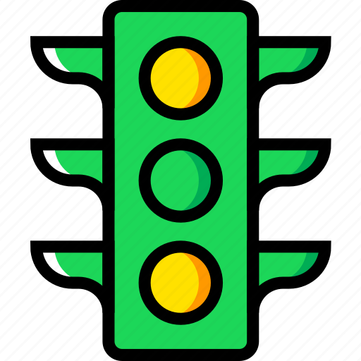 building, city, cityscape, lights, traffic icon