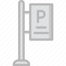 building, city, cityscape, parking, sign icon