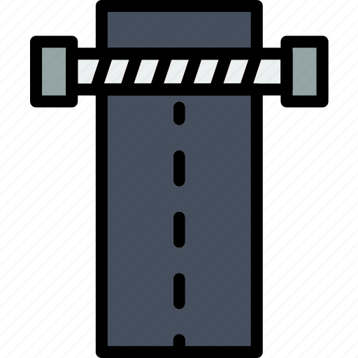 blocked, building, city, cityscape, road icon