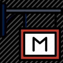 building, city, cityscape, metro, sign icon