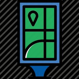 billboard, building, city, cityscape, information icon
