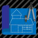 architecture, blueprint, civil, construction, engineer icon