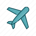 aviation, civil, line, plane, thin icon