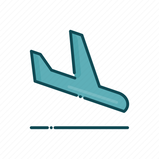 aviation, civil, land, landing, line, plane, thin icon