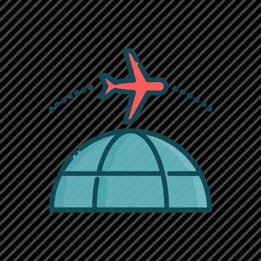 aviation, civil, globe, line, plane, thin, world icon
