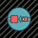 aviation, civil, line, safety, seat belt, thin icon