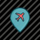 aviation, civil, line, plane, pointer, thin icon