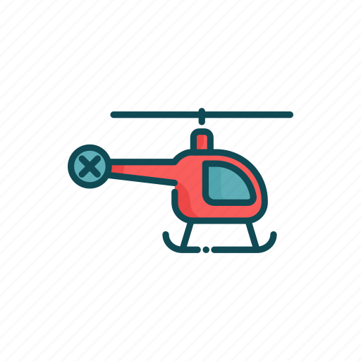aviation, civil, helicopter, line, thin icon