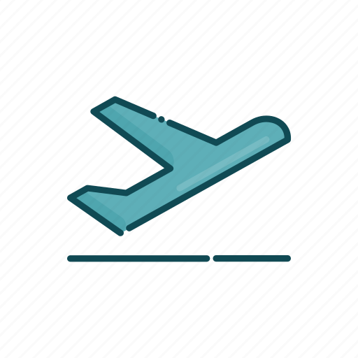 aviation, civil, line, plane, takeoff, thin icon