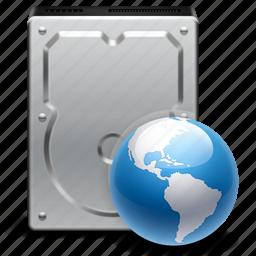 disk, drive, earth, global, globe, hard, internet, net disc, network, world icon