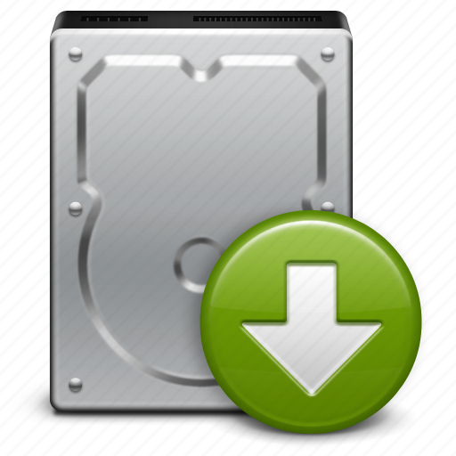 arrow, disk, download, downloads, file, hard drive, storage icon