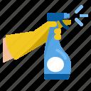 bottle, cleaning, detergent, disinfect, glove, hand, spray