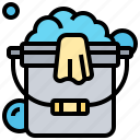 bucket, cleaning, detergent, soap, water icon