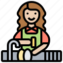 dishes, housework, kitchen, maid, washing icon
