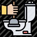 clogged, flush, plunger, sanitary, toilet