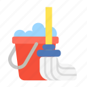 clean, cleaning, household, mop, mopping, floor, bucket